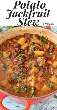 Vegan Potato Jackfruit Stew Recipe with Carrots and Gravy Vegan PlantBased WFPB Jackfruit Vegan Stew, Vegan Soups, Vegan Dishes, Vegan Gravy, Vegetarian Meals, Vegan Potato Soup, Vegetarian Potato Recipes, Vegan Freezer Meals, Vegan Food