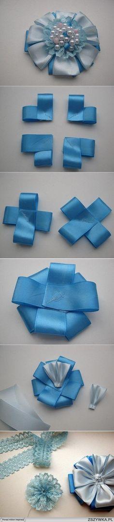 diy, diy projects, diy craft, handmade, diy ideas, diy satin ribbon brooch flower