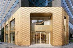 Klein Dytham Architecture creates intricate wooden shop front for Cartier Gifu, Kyoto, Cartier Store, Hinoki Wood, Wooden Facade, Arched Windows, Shop Windows, Facade Design, Exterior