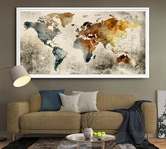 Large world map wall art poster printworld mappush pin mapworld world map wall art large wall decor extra large wall ar gumiabroncs Image collections