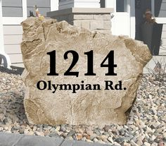 Address Stone - Engraved Rock - Personalized - Garden Stone - House Entry - Yard Decor - Address Marker - x Address Numbers, Address Plaque, Address Signs, Home Landscaping, Landscaping With Rocks, Colorado Landscaping, Personalized Garden Stones, High Strength Concrete, House Address