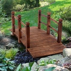 We select superior fir materials to restore the artistic charm of pure solid wood and present the natural texture of solid wood. Our solid wood is carbonized and anti-corrosive, which is moisture-proof and waterproof. It is sturdy and durable. This wooden bridge also has a wide range of applications, which can be used in courtyards, gardens, balconies, farms, scenic areas, etc. Features: 1. Solid wood texture 2. Anti-corrosion and moisture 3. Stable and difficult to deform 4. Protect from… Backyard Water Feature, Ponds Backyard, Backyard Patio, Backyard Ideas, Backyard Pavilion, Pond Landscaping, Landscaping With Rocks, Building A Pond, Natural Pond