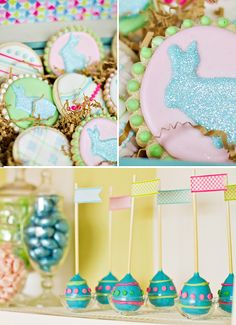 """Modern """"Easter Has Sprung"""" Party Theme @Hostess {with the mostess}:  One of the first things that caught my eye about this theme was the bright colors. There's something so refreshing about seeing vibrant, BOLD colors & patterns for an Easter theme. Also loving the hanging """"garland"""" of paper parasols, the use of bookshelves as a """"dessert buffet"""", egg-shaped cake pops, DIY ribbon topiary trees, a fantastic cake covered in stripes & kaleidoscope patterns… and more!"""