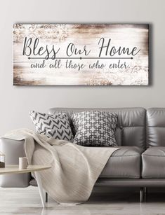 Christian Wall Art: Bless Our Home (Wood Frame Ready To Hang) - Living Room - Christian Decor, Christian Wall Art, Christian Signs, Home Decor Wall Art, Diy Home Decor, Art Decor, Home Living Room, Living Room Decor, Layout Design