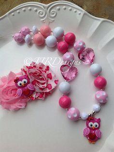 Valentine Lovebird/owlGirl Necklace Valentines Chunky Necklace