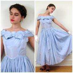 Vintage 1950s Blue Satin Party Dress / 50s Evening by BasyaBerkman