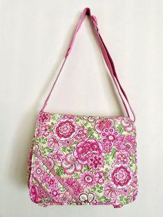 Vera Bradley Petal Pink Floral Laptop Messenger Crossbody Shoulder Bag   VeraBradley  ShoulderBag Crossbody Shoulder 90b0fe8b3f2b1