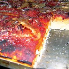 The Sficioune Siciliano is a cheese-less square pie pizza that was once commonplace in New York City pizzerias and bakeries.