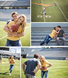 this seriously might be the most perfect engagement shoot ever. if my husband plays football! Wvu Football, Football Wedding, Football Field, Broncos, Baseball Field, Moon Wedding, Wedding Pics, Dream Wedding, Wedding Ideas