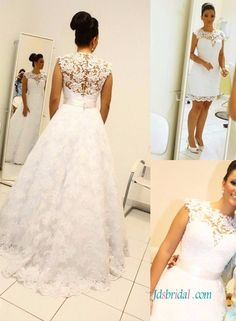 H1233 Convertible short and long lace wedding dress