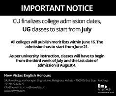 All colleges affiliated to Calcutta University will publish merit lists within June 16, 2016. #CollegeAdmission, #BA, #UnderGraduation, #CU