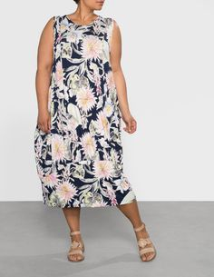 Isolde Roth Floral print balloon dress in Dark-Blue / Multicolour