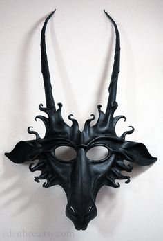 Goat leather mask in semi-gloss black Pan faun Baphomet di edenbee Leather Mask, Cow Leather, Leather And Lace, Baphomet, Wolf Maske, Tiki Maske, Goat Mask, Demon Costume, Cool Masks