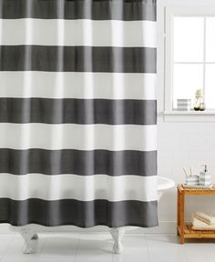 This Kassatex Hampton Striped Shower Curtain Gives You The Bold Graphic Impact Of Stripes And Modernity Horizontal Vs Vertical