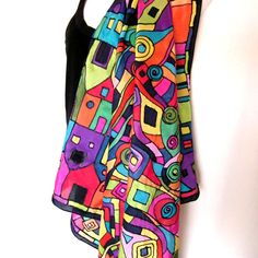 Hand Painted Silk Scarf Square Multicolor Black by silkshop