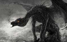 black-white photo, fiery eyes, dragon, fantasy