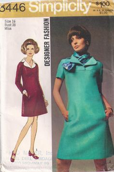 Lined Dress With Pockets And Scarf Plus Size 16 Sewing by Rosie247