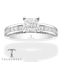 Tolkowsky Engagement Ring 1-5/8 ct tw Diamonds 14K White Gold