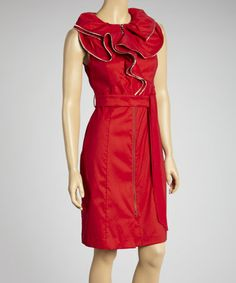 c1312af7da Take a look at this Ruby Red Ruffle Zipper Tie-Waist Dress - Women by