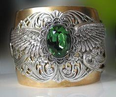 Steampunk Neo Victorian Emerald Cuff by steamheat on Etsy, $175.00
