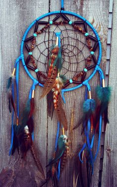 Medium Dream Catcher Turquoise Leather by 7WishesDreamcatchers