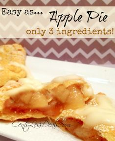 "Individual Apple Pies with only 3 ingredients! one pinner said ""since we couldn't get McDonald's apple pies anymore we decided to make these. They were surprisingly good! Not at all what I expected! Plus they were so easy to make, now I have the kids make them for me"""