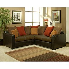 @Overstock - Soft and warm, this Bailey two-piece sectional features suede upholstery in your choice of khaki or chocolate. The dark espresso finish adds elegance to this comfortable sofa.http://www.overstock.com/Home-Garden/Bailey-2-piece-Suede-Sectional-Sofa/5329813/product.html?CID=214117 $1,301.99