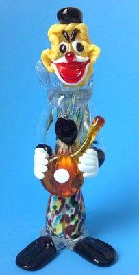 Vtg Murano Art Glass Millefiori Clown Figurine Musician with Guitar or Mandolin