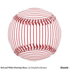 Red and White Pinstripe Baseball #baseball #sports #pinstripes #red #white