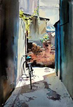 Art Of Watercolor: Millind Mulick. Watercolor City, Watercolor Sketchbook, Watercolor Landscape Paintings, Watercolor Artists, Painting Abstract, Acrylic Paintings, Landscape Art, Painting Art, Balloon Painting