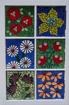 https://flic.kr/p/79ra1m   Flower Sampler Mosaic   Here's my first glass on glass mosaic.  I bought the old wood frame window at a salvage store.  I went  back to pick up more and found nothing.  All the windows were the new-fangled vinyl windows.  I wasn't sure what to do with it when finished, but my husband liked it so much I gave it to him for his window at work.