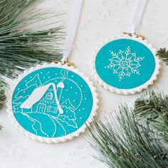 PDF Embroidery Pattern Snowflake Ornament by LolliAndGrace on Etsy