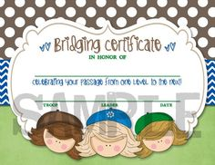 Scouts Bridging Certificate - DIY, Printable | Captured-by-Jess - Digital Art on ArtFire - Girl Scouts, Girl Scout, Bridging Ceremony, Fly Up, Crossover
