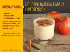 Licuado natural para la hipertensión Manzana, avena y canela!