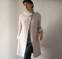 womens jacket in boiled wool with funnel boatneck collar and wood button.  This is beautiful.  *Love*