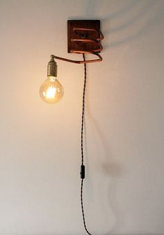 Wall lamp / applique copper and wood. Industrial , vintage table lamp . OOAK