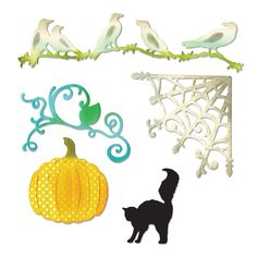 Sizzix - Thinlits Die - Halloween - Die Cutting Template - Pumpkin, Cat, Crows and Web at Scrapbook.com