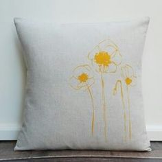 yellow poppy cushion