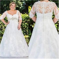 2016 Plus Size Lace Elegant Wedding Dresses With Half Sleeves Sheer High Quality Elegant Bridal Dresses Popular A Line Wedding Gowns Wedding Dresses For Older Brides Wedding Gown Designs From Afandadress, $142.64| Dhgate.Com