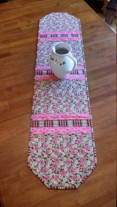 Quilted Table Runner Floral Table Runner Spring Table by djwquilts