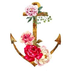 Watercolor Anchor and flowers Temporary tattoo ($1.43) ❤ liked on Polyvore featuring accessories and body art