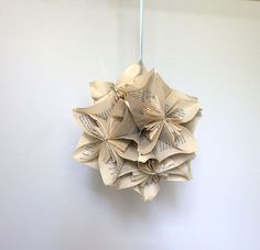 Items similar to Eco Wedding Paper Bouquet - Recycled book origami OOAK pomander kissing ball on Etsy Diy Paper, Paper Crafts, Fun Crafts, Arts And Crafts, Paper Balls, Paper Bouquet, Flower Bomb, Wedding Paper, Autumn Wedding