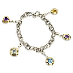 We've refined the classic charm bracelet! Now wearable for all ages! Comes with detachable gemstones in fun shapes! Set in sterling silver with 18 K gold accents!