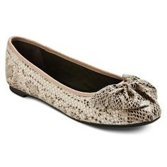 Women's Sam & Libby Bow Flats in Nude Snake