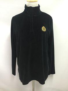 Ralph Lauren LRL Womens Jacket Black Velvet Full Zip Emblem Long Sleeve Size S  | eBay