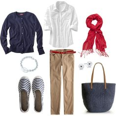 Nautical, created by #bluehydrangea on #polyvore. #fashion #style Old Navy AG Adriano Goldschmied