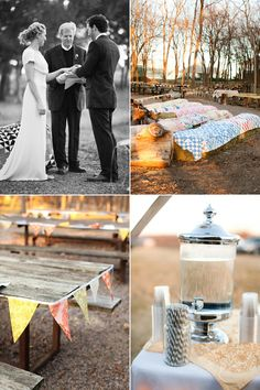 Quilt-covered hay bales as wedding ceremony seating.  Must happen on my big day.