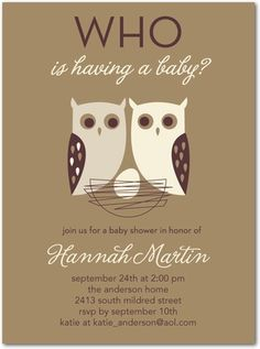Whose Nest - Baby Shower Invitations - Eleanor - Walnut Brown #baby #TopPin