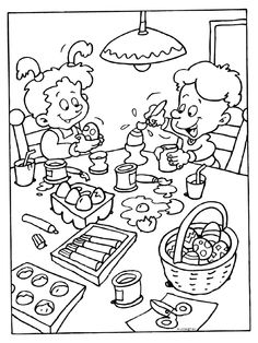 Kleurplaat Paaseieren beschilderen - Kleurplaten.nl Easter Coloring Pages, Coloring Sheets, Happy Easter, Easter Eggs, Art For Kids, Bunny, Arts And Crafts, Snoopy, Printables