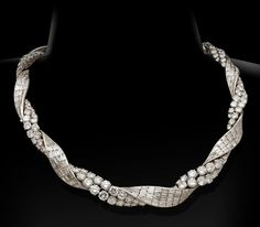 Pierre Sterle diamond ribbon twist necklace, circa 1950s.